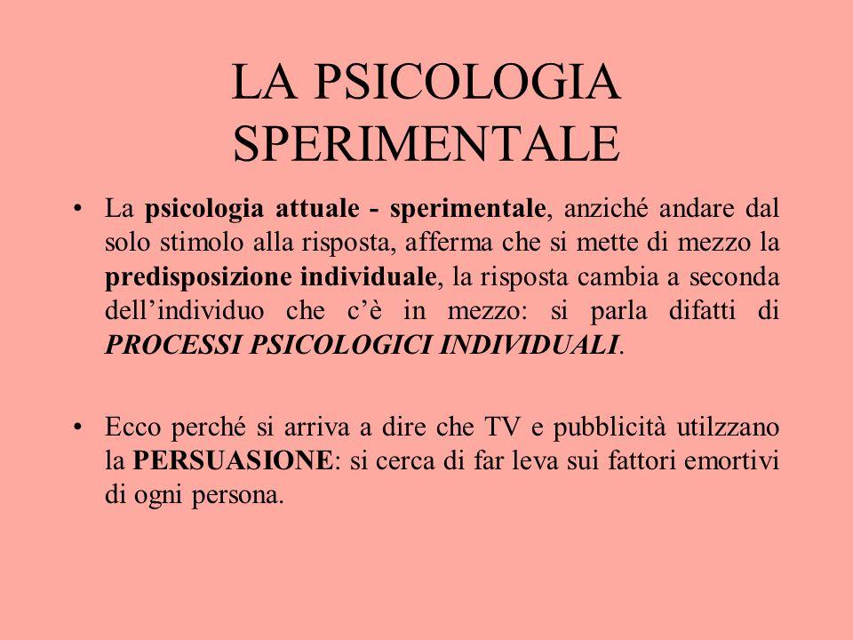LA PSICOLOGIA SPERIMENTALE