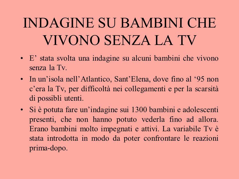 INDAGINE SU BAMBINI CHE VIVONO SENZA LA TV