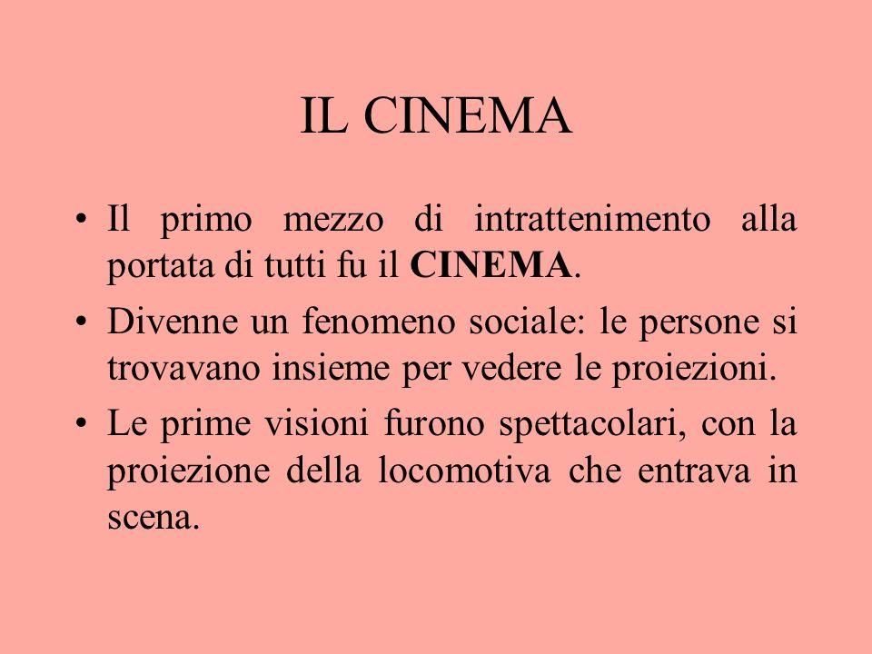 IL CINEMA Il primo mezzo di intrattenimento alla portata di tutti fu il CINEMA.