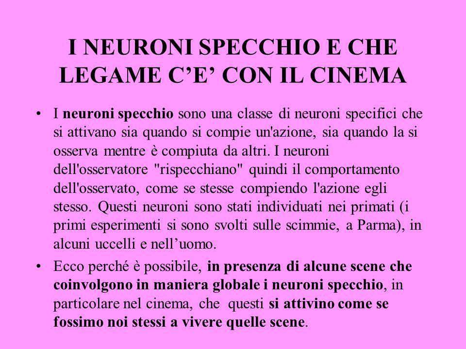 I NEURONI SPECCHIO E CHE LEGAME C'E' CON IL CINEMA