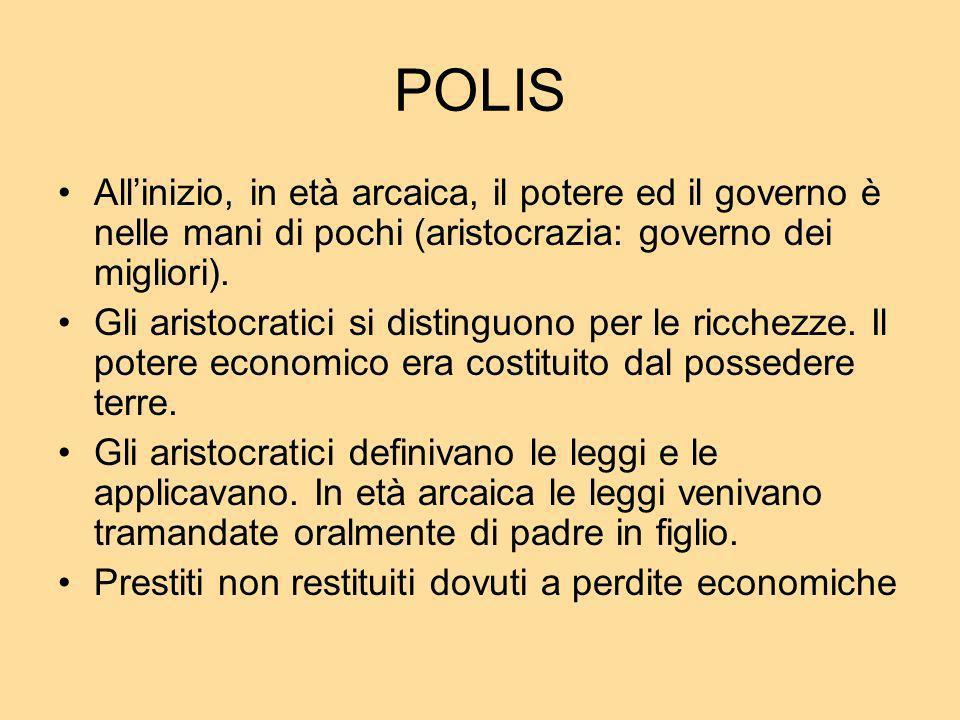 POLIS All'inizio, in età arcaica, il potere ed il governo è nelle mani di pochi (aristocrazia: governo dei migliori).