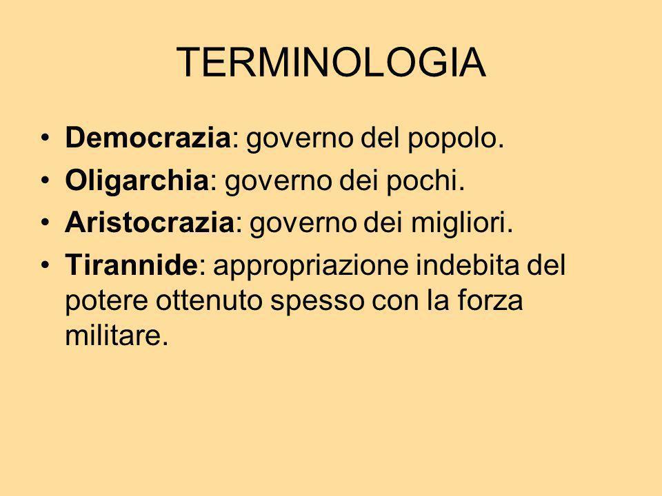 TERMINOLOGIA Democrazia: governo del popolo.
