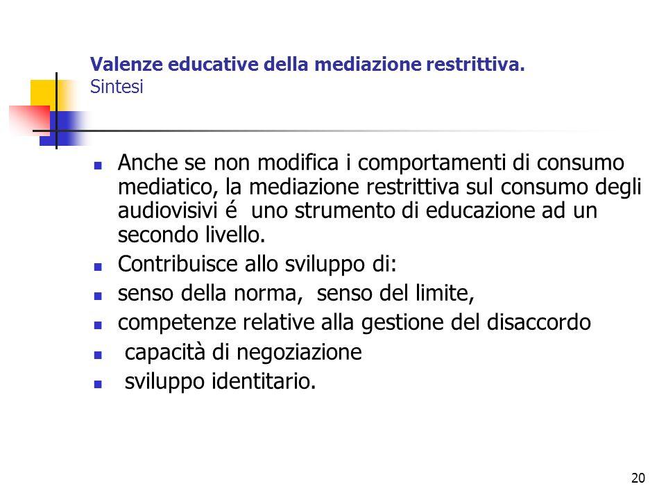 Valenze educative della mediazione restrittiva. Sintesi