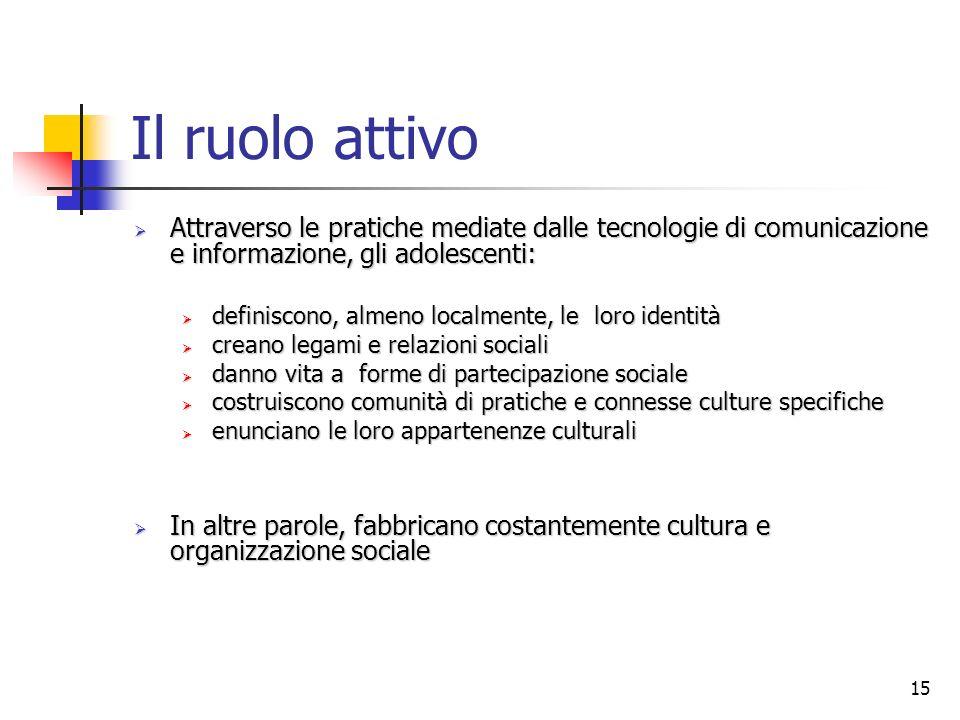 Il ruolo attivo Attraverso le pratiche mediate dalle tecnologie di comunicazione e informazione, gli adolescenti: