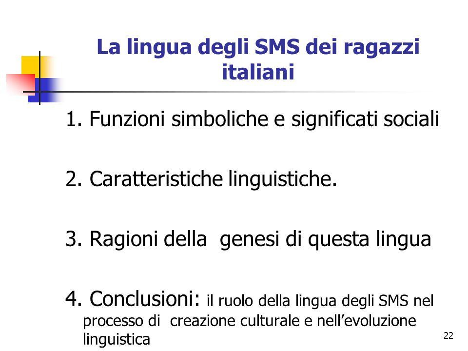 La lingua degli SMS dei ragazzi italiani