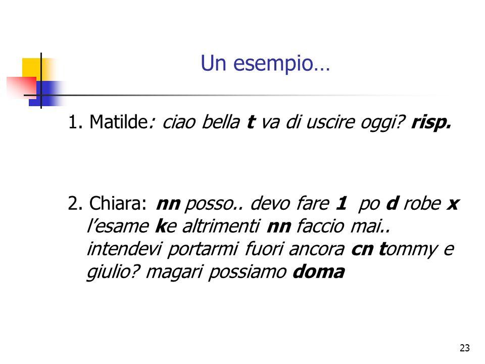 Un esempio… 1. Matilde: ciao bella t va di uscire oggi risp.