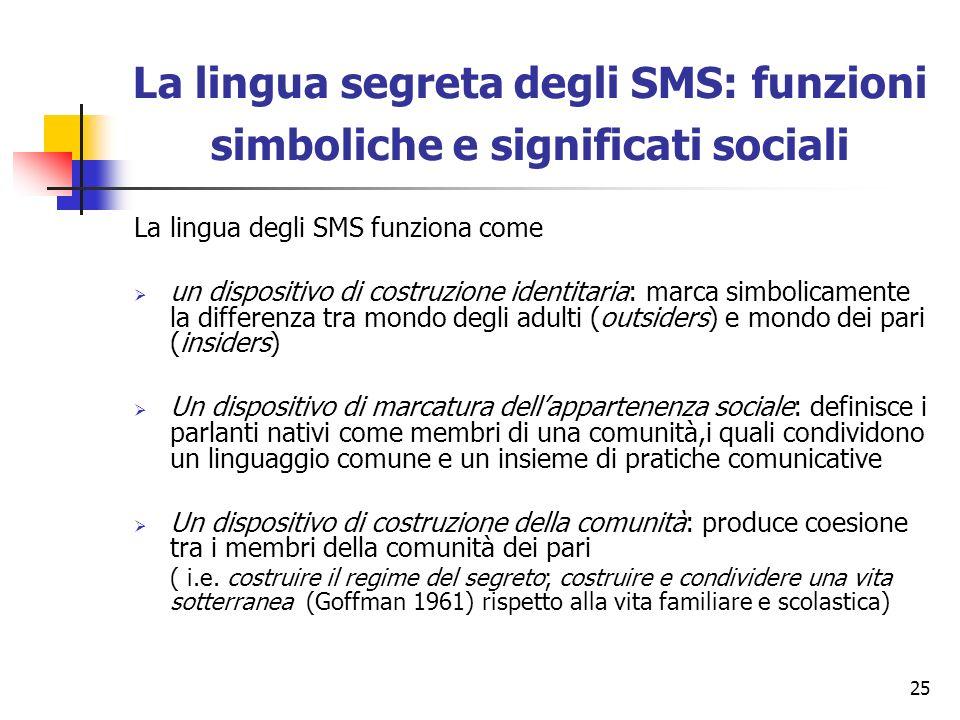 La lingua segreta degli SMS: funzioni simboliche e significati sociali