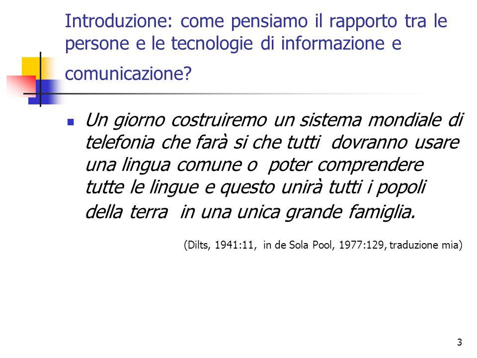 Introduzione: come pensiamo il rapporto tra le persone e le tecnologie di informazione e comunicazione