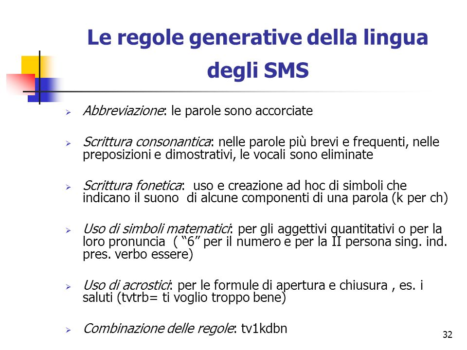 Le regole generative della lingua degli SMS