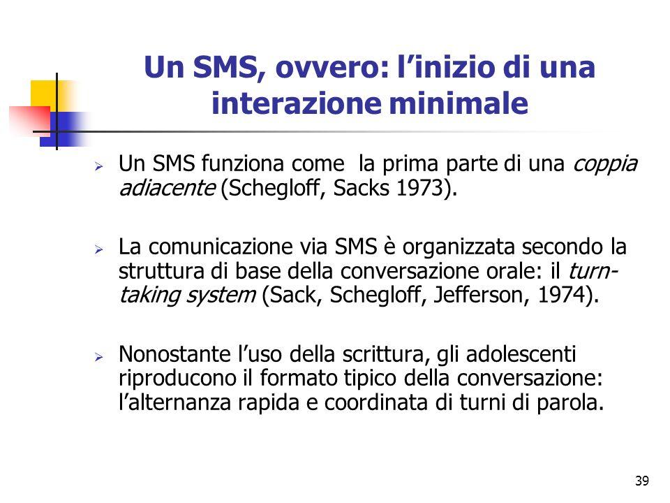 Un SMS, ovvero: l'inizio di una interazione minimale