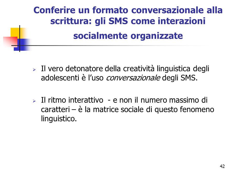 Conferire un formato conversazionale alla scrittura: gli SMS come interazioni socialmente organizzate