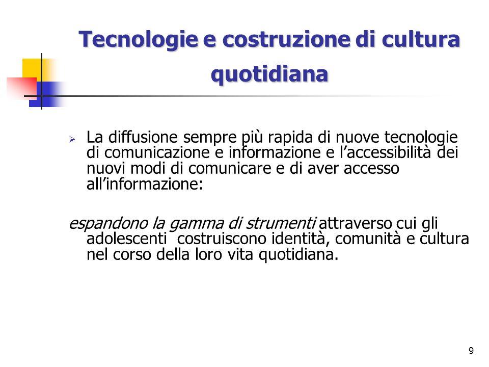 Tecnologie e costruzione di cultura quotidiana