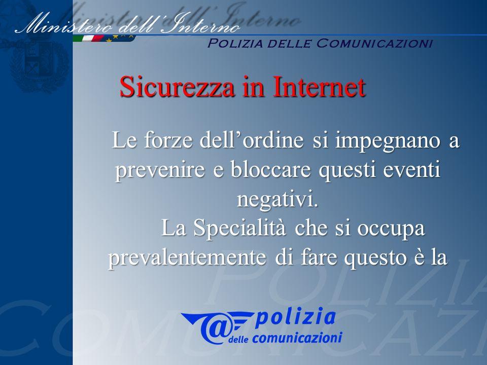 Sicurezza in Internet prevenire e bloccare questi eventi negativi.