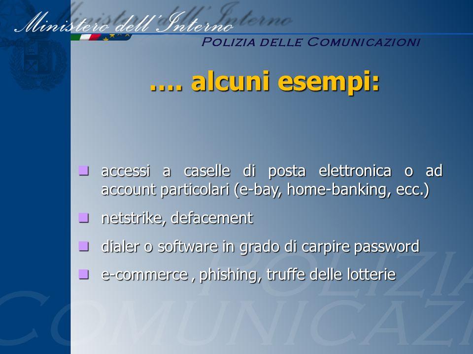…. alcuni esempi: accessi a caselle di posta elettronica o ad account particolari (e-bay, home-banking, ecc.)