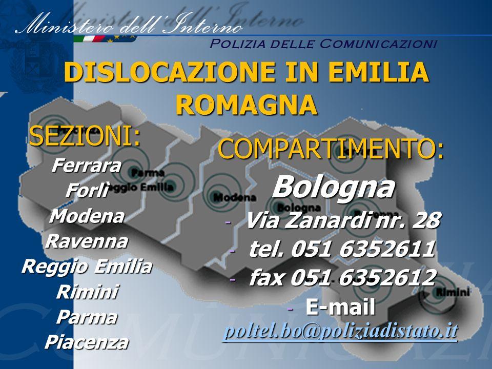 DISLOCAZIONE IN EMILIA ROMAGNA E-mail poltel.bo@poliziadistato.it