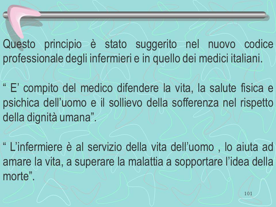 Questo principio è stato suggerito nel nuovo codice professionale degli infermieri e in quello dei medici italiani.