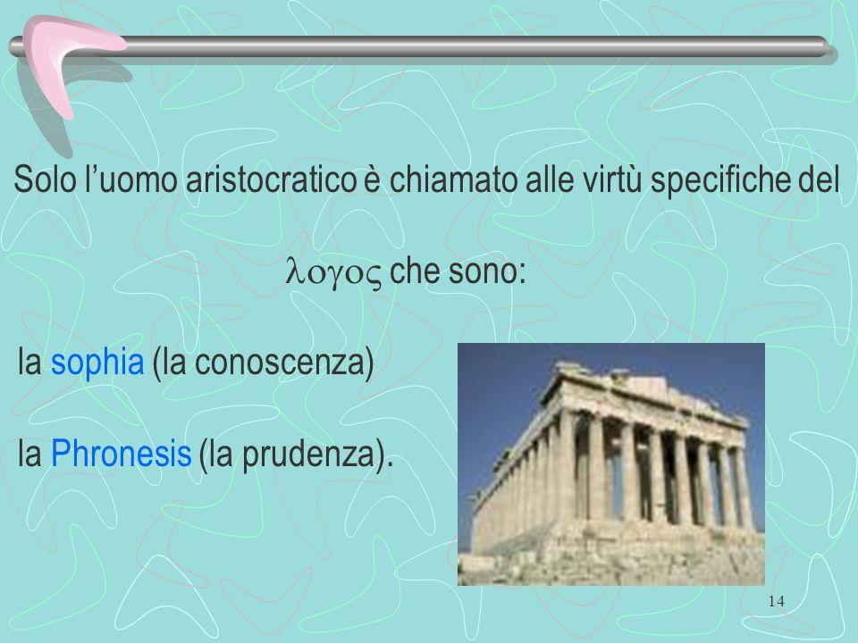 la sophia (la conoscenza) la Phronesis (la prudenza).