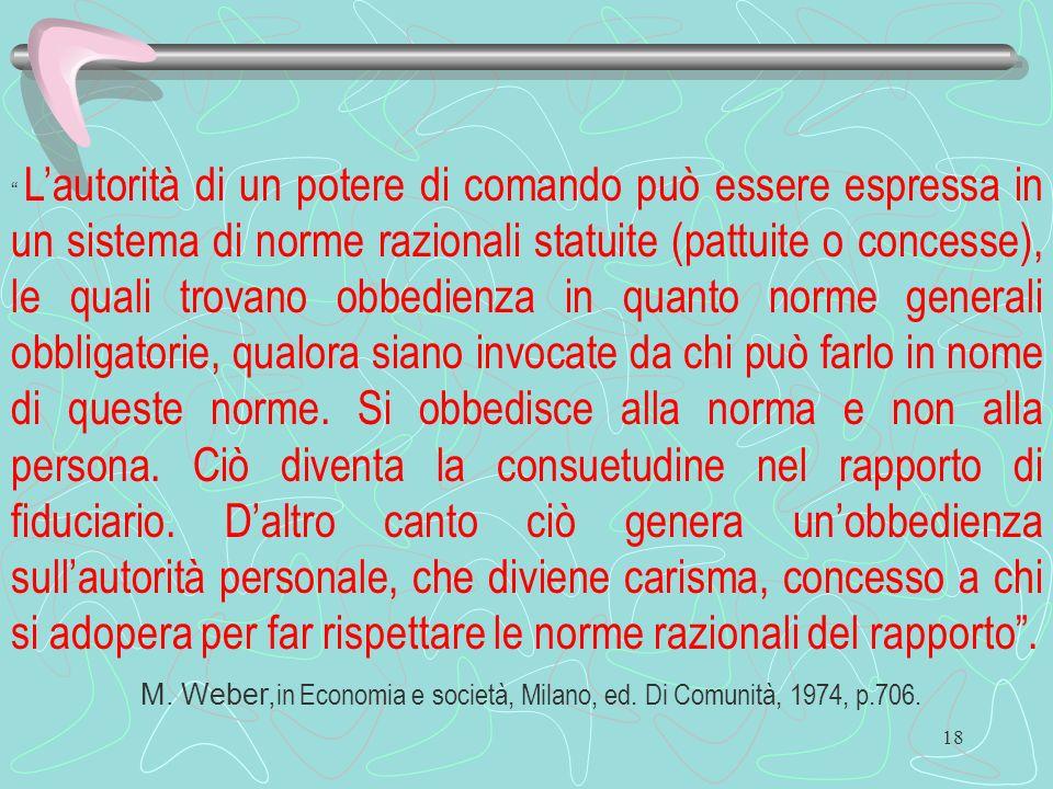 M. Weber,in Economia e società, Milano, ed. Di Comunità, 1974, p.706.