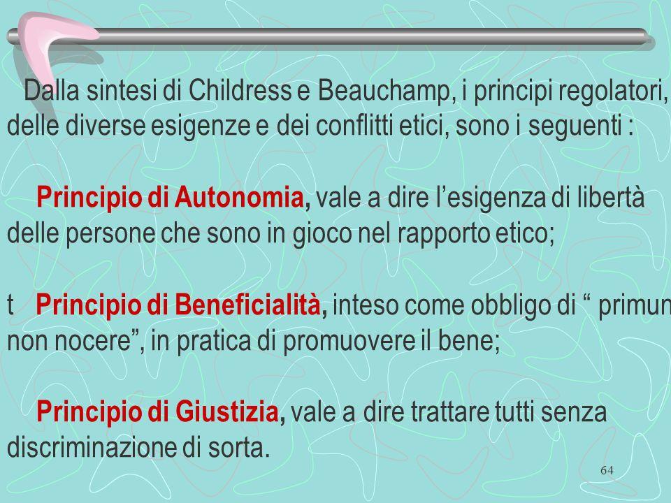 Dalla sintesi di Childress e Beauchamp, i principi regolatori, delle diverse esigenze e dei conflitti etici, sono i seguenti :