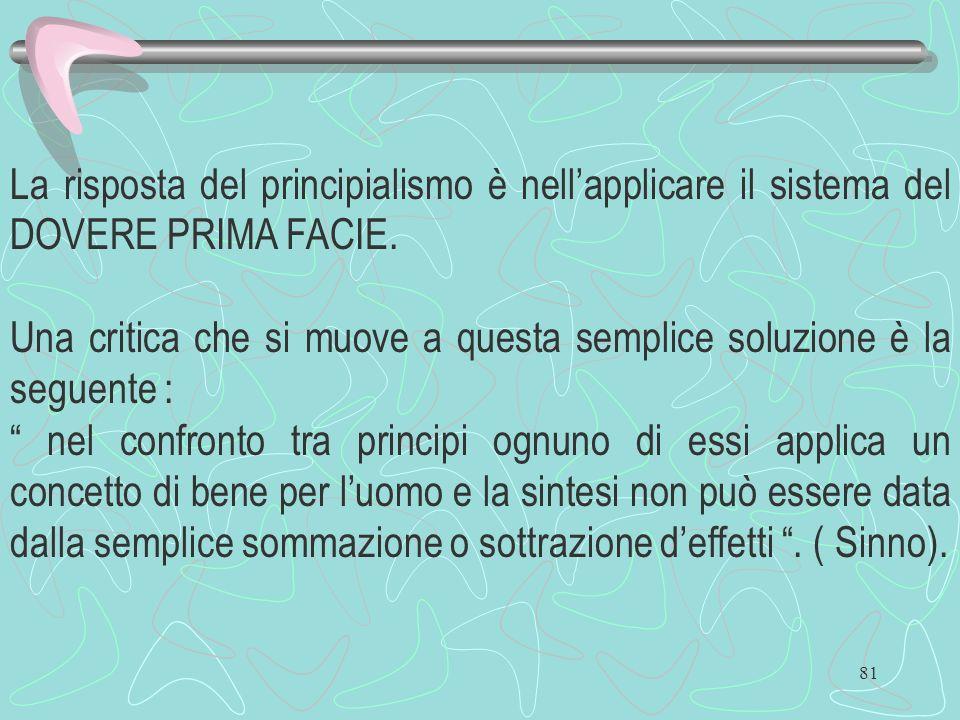 La risposta del principialismo è nell'applicare il sistema del DOVERE PRIMA FACIE.