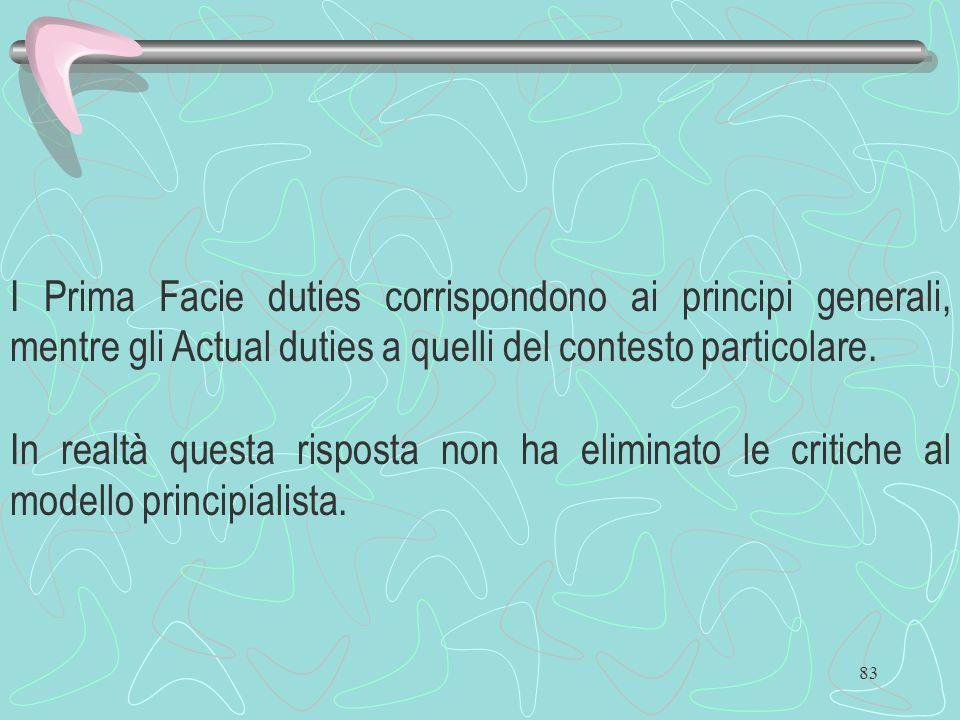 I Prima Facie duties corrispondono ai principi generali, mentre gli Actual duties a quelli del contesto particolare.
