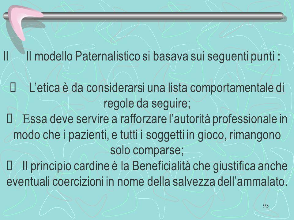 Il Il modello Paternalistico si basava sui seguenti punti :