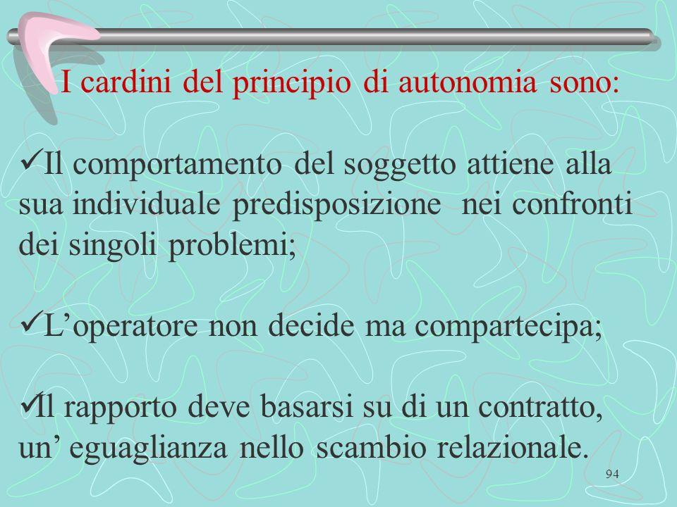 I cardini del principio di autonomia sono: