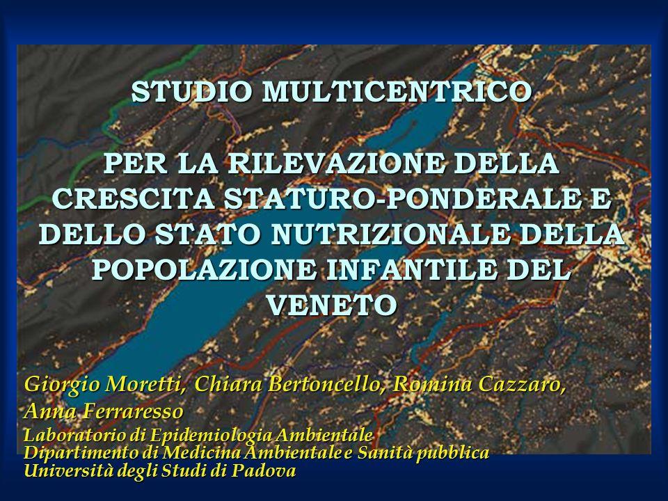 STUDIO MULTICENTRICO PER LA RILEVAZIONE DELLA CRESCITA STATURO-PONDERALE E DELLO STATO NUTRIZIONALE DELLA POPOLAZIONE INFANTILE DEL VENETO