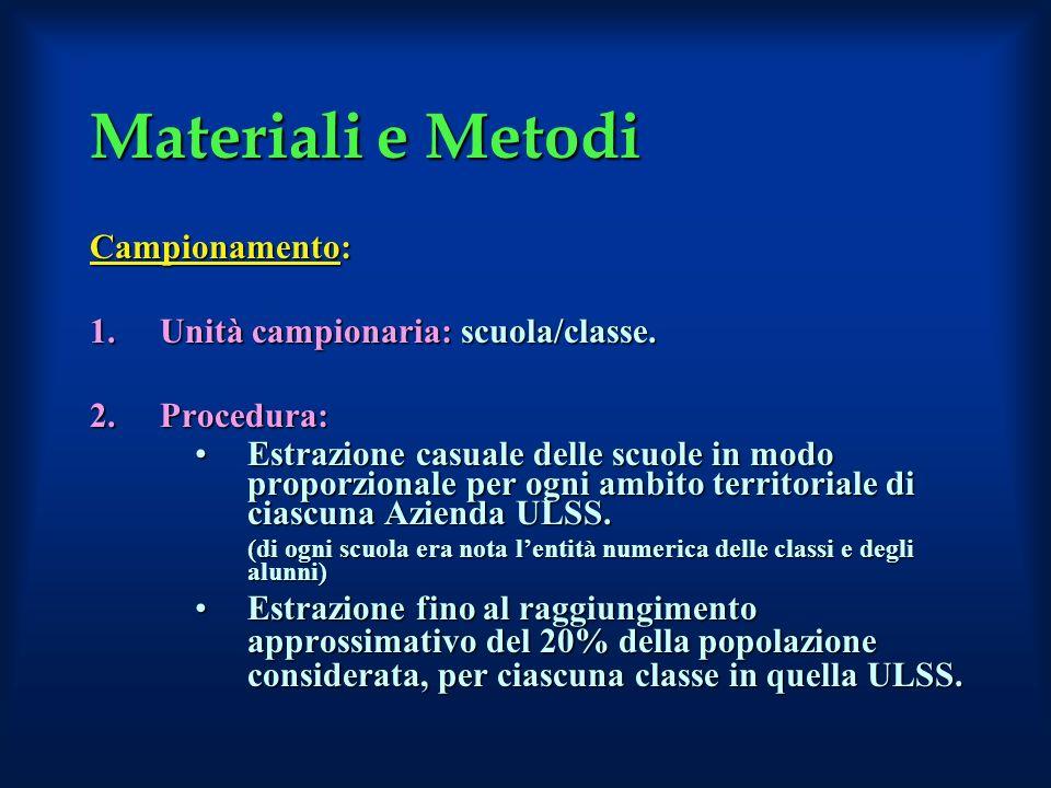Materiali e Metodi Campionamento: Unità campionaria: scuola/classe.