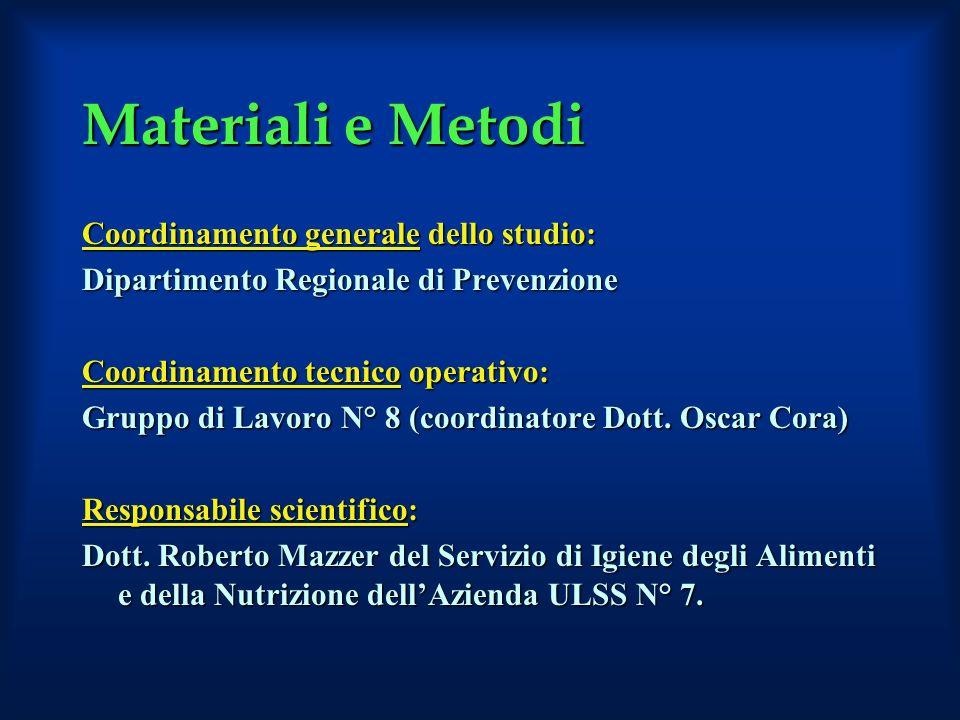 Materiali e Metodi Coordinamento generale dello studio: