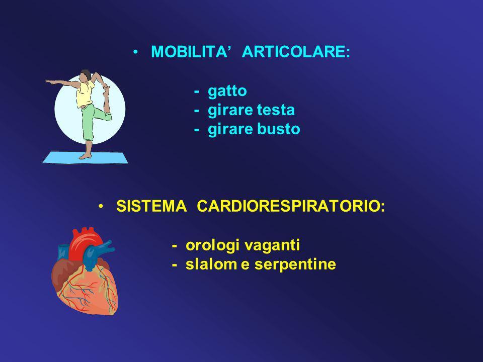 MOBILITA' ARTICOLARE: SISTEMA CARDIORESPIRATORIO:
