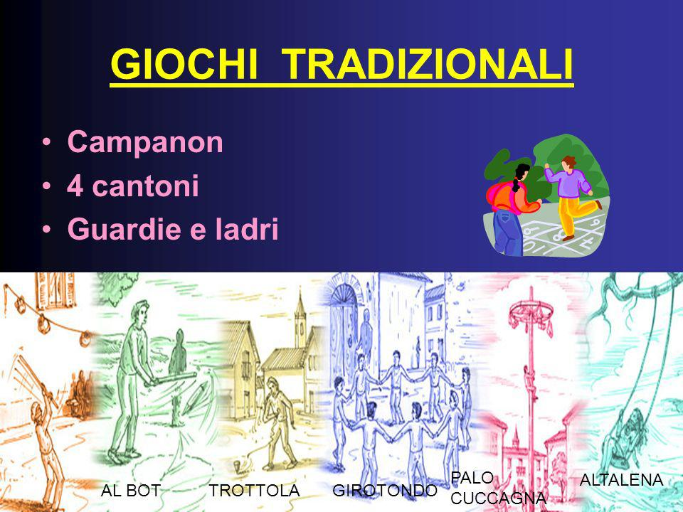 GIOCHI TRADIZIONALI Campanon 4 cantoni Guardie e ladri PALO CUCCAGNA