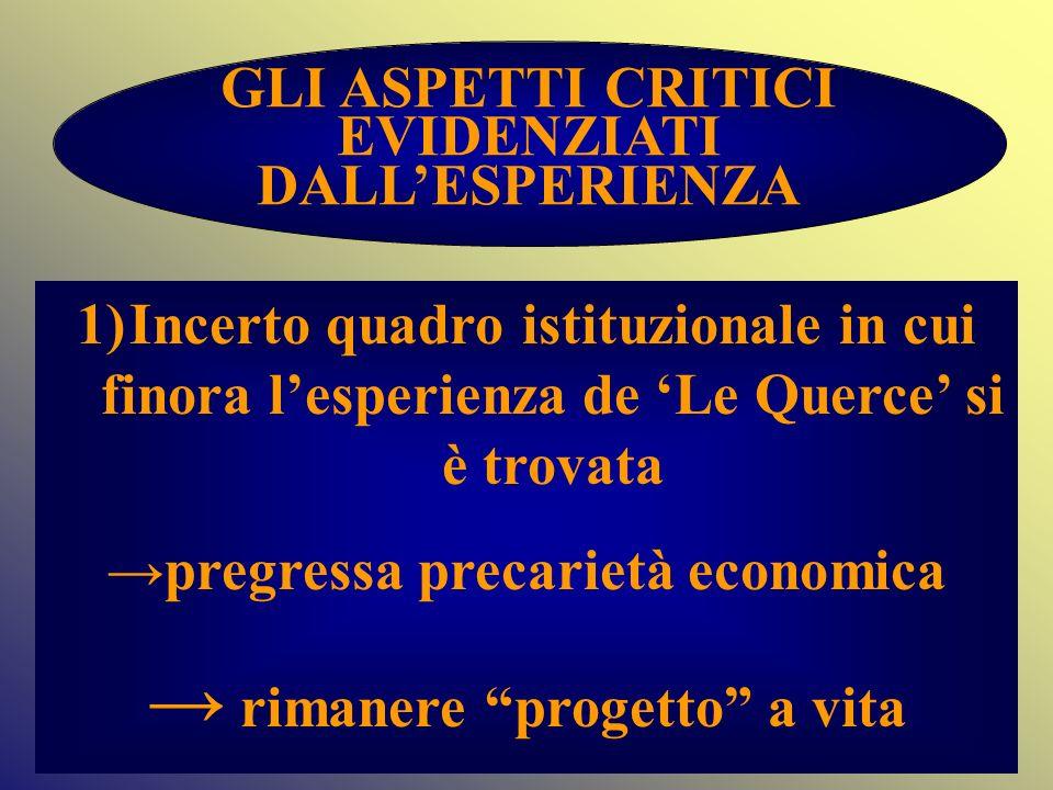 →pregressa precarietà economica → rimanere progetto a vita