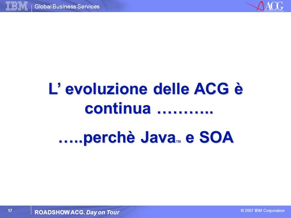 L' evoluzione delle ACG è continua ………..