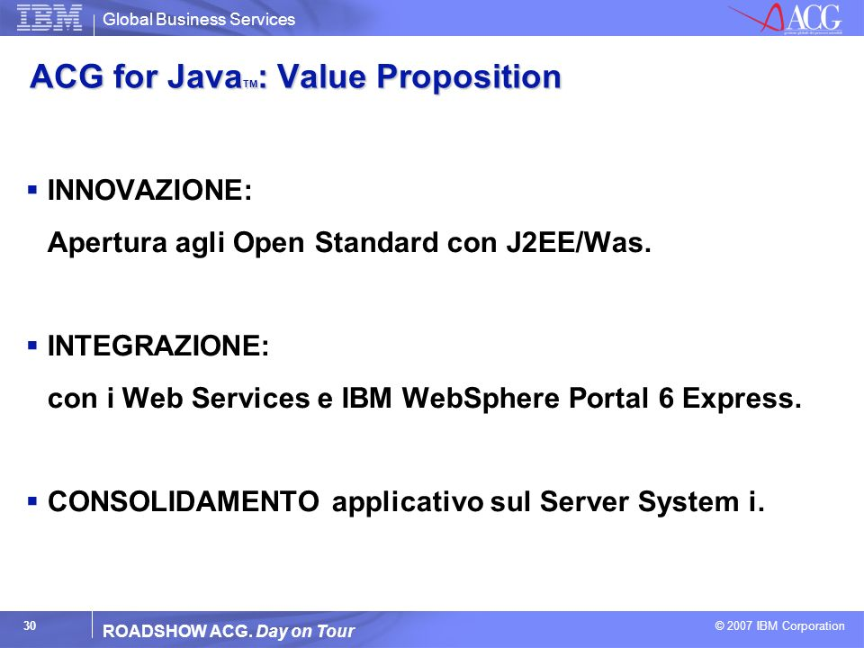 ACG for JavaTM: Value Proposition