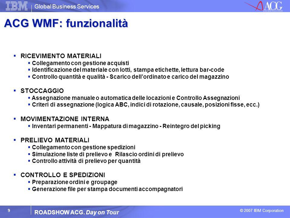 ACG WMF: funzionalità RICEVIMENTO MATERIALI STOCCAGGIO