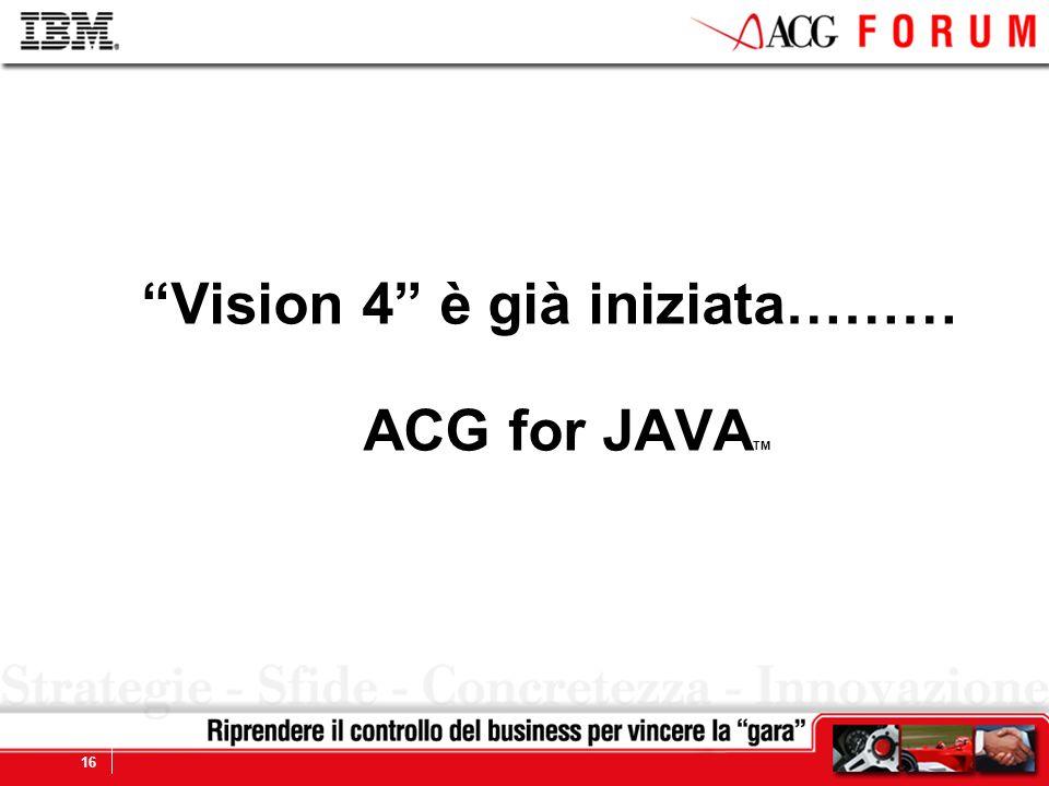 Vision 4 è già iniziata……… ACG for JAVATM