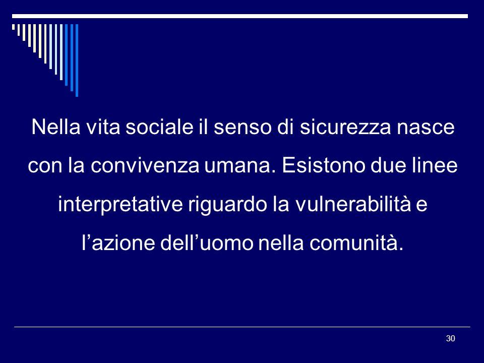 Nella vita sociale il senso di sicurezza nasce con la convivenza umana