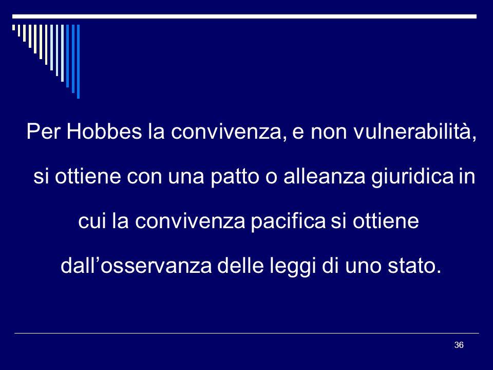 Per Hobbes la convivenza, e non vulnerabilità,