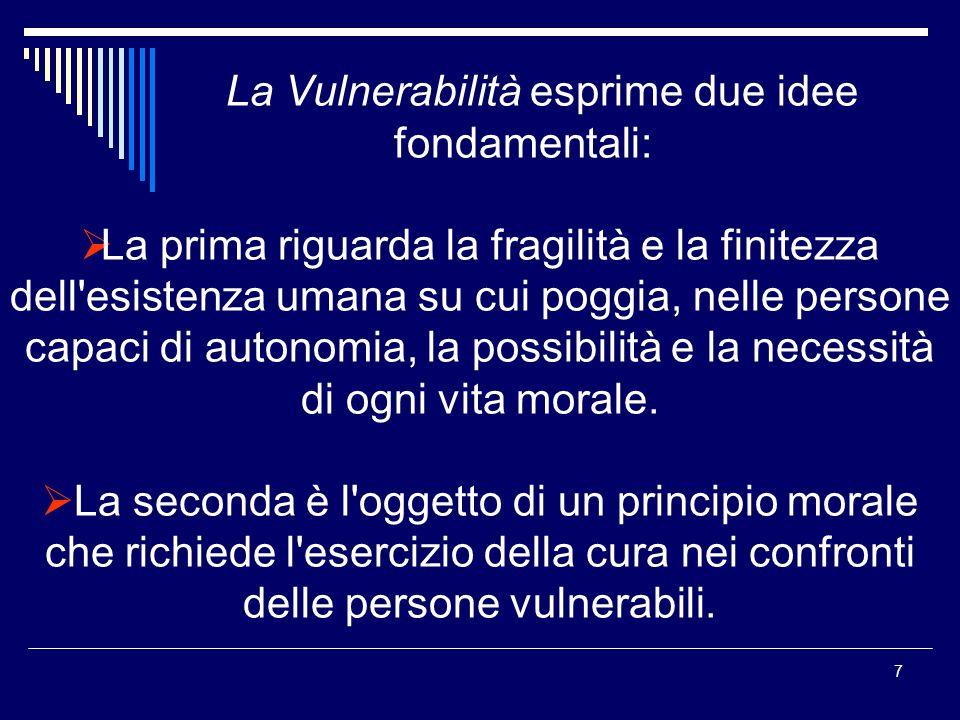 La Vulnerabilità esprime due idee fondamentali:
