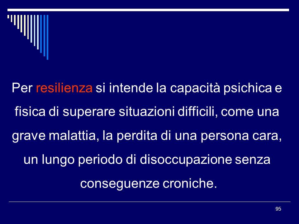 Per resilienza si intende la capacità psichica e