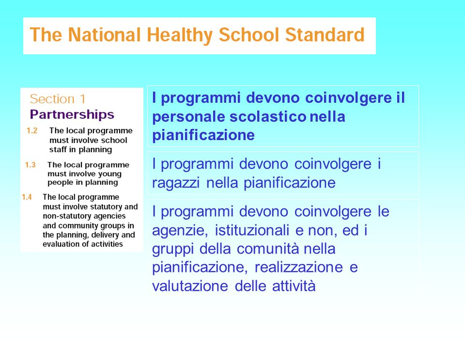 I programmi devono coinvolgere il personale scolastico nella pianificazione