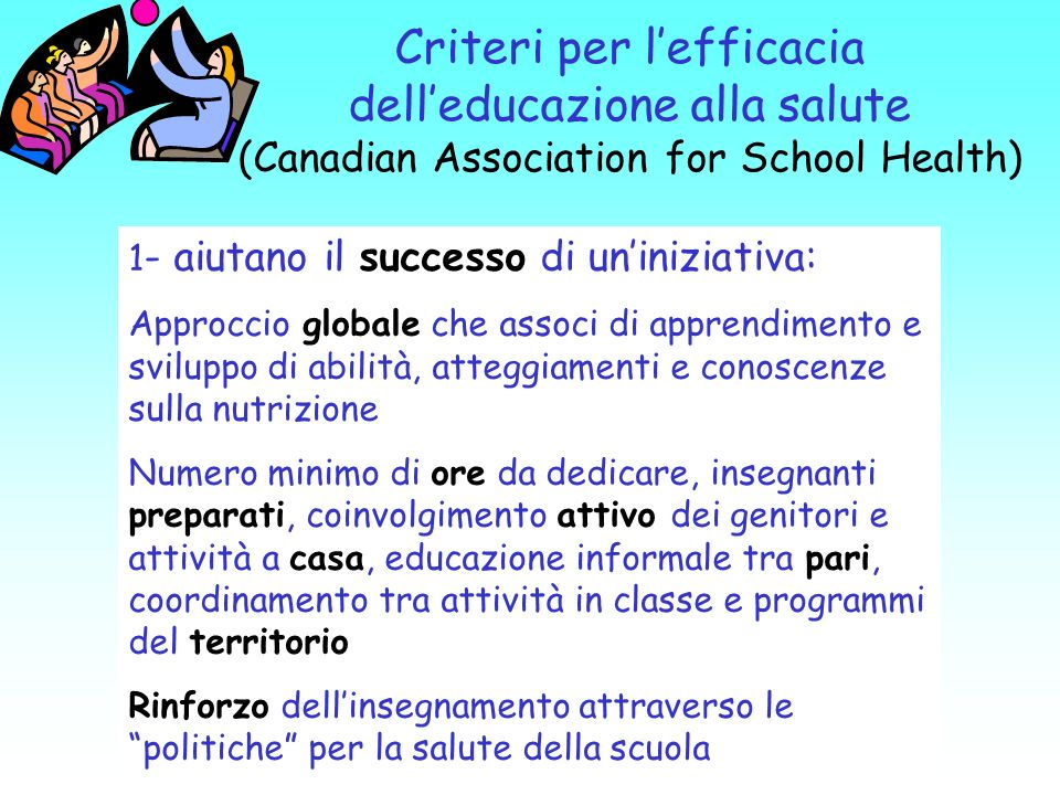 Criteri per l'efficacia dell'educazione alla salute (Canadian Association for School Health)