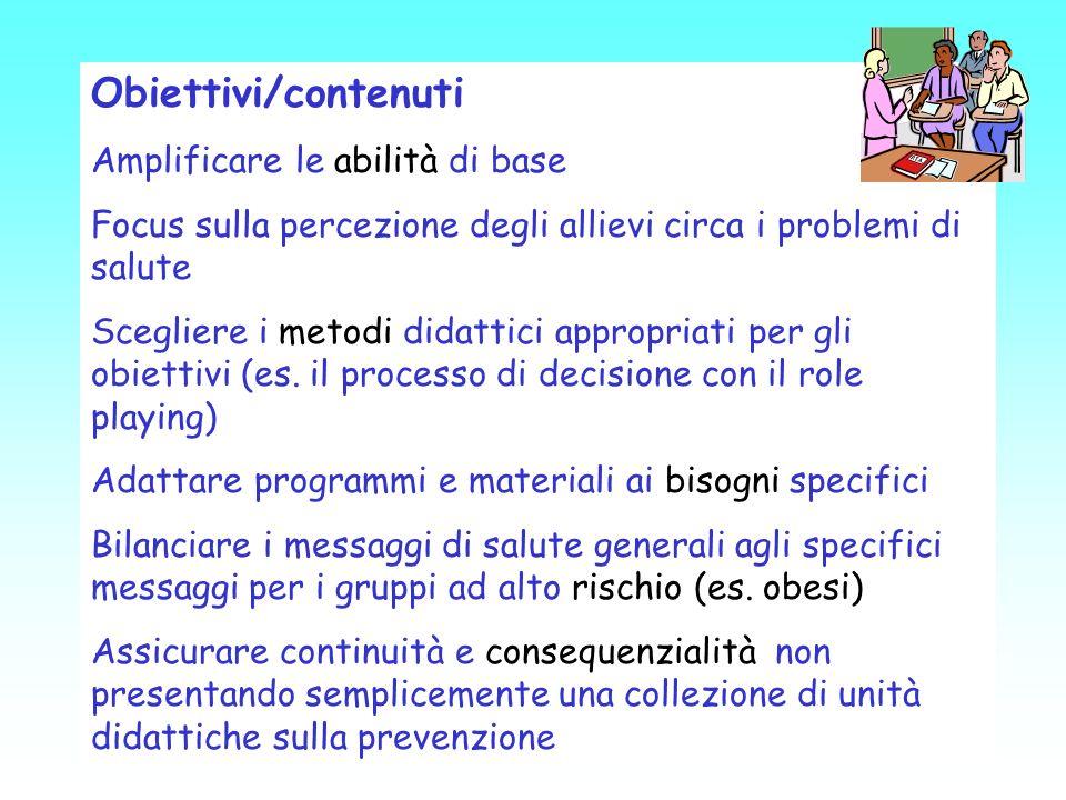Obiettivi/contenuti Amplificare le abilità di base