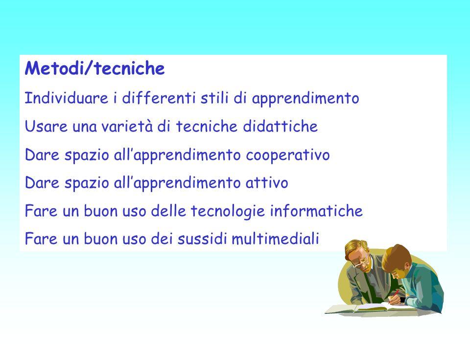 Metodi/tecniche Individuare i differenti stili di apprendimento
