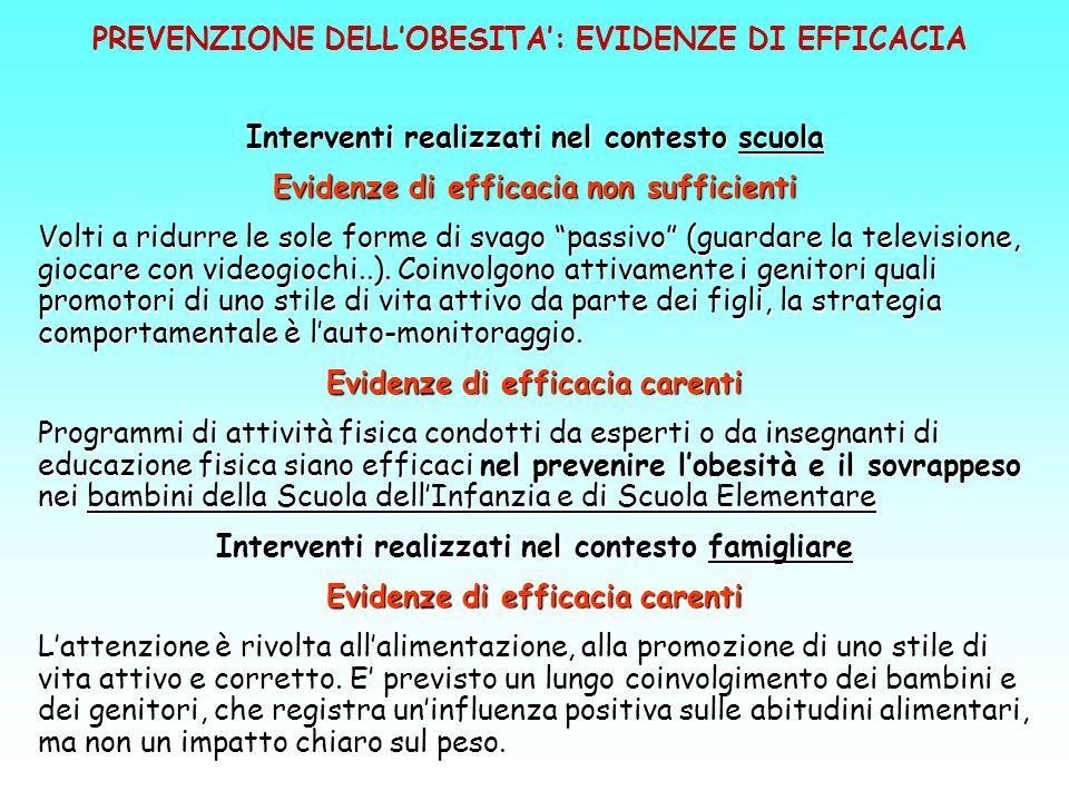 PREVENZIONE DELL'OBESITA': EVIDENZE DI EFFICACIA