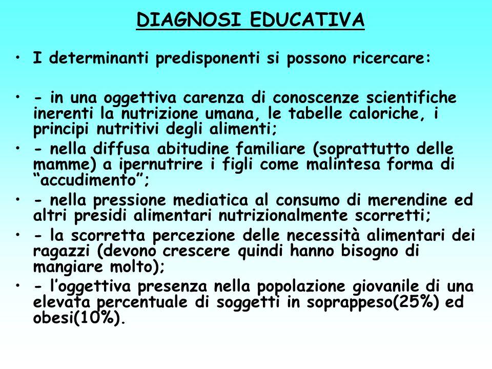DIAGNOSI EDUCATIVA I determinanti predisponenti si possono ricercare: