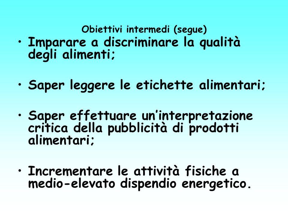 Obiettivi intermedi (segue)