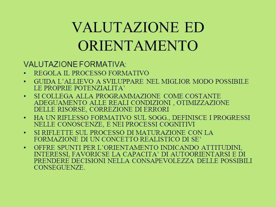 VALUTAZIONE ED ORIENTAMENTO