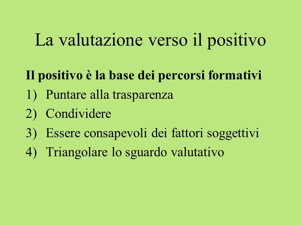 La valutazione verso il positivo